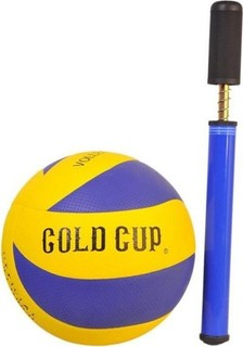 Pro Hanson Volleyball With Pump - Blue Yellow