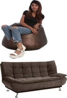 Art Home Sofa Bed +PVC Bean Bag - Brown