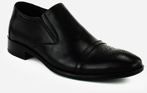 Genuine Solid Slip On Leather Shoes - Black