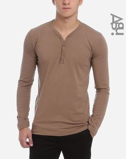 Agu Henley T-Shirt - Coffee