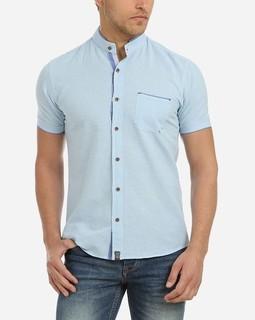 Stress Plain Half Neck Shirt - Blue Sky