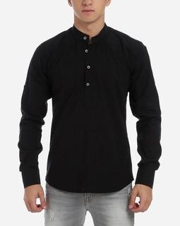 Stress Plain Semi Shirt - Black