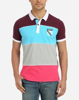 Stress Striped Polo Shirt - Maroon, Grey & Turquoise