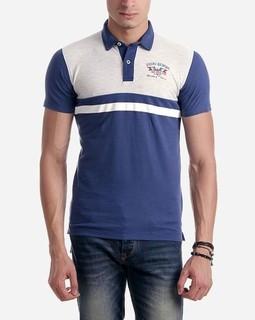 Voiki Team Bi-Tone Polo Shirt - Navy Blue & Heather Grey