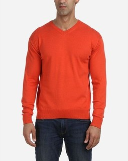 Andora Solid Pullover V-Neck - Orange