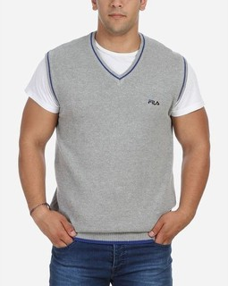 Fila Solid V-Neck Pullover - Grey