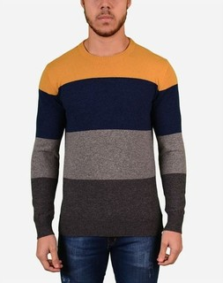 Town Team Multicolored Rounded Neck Pullover - Dark Grey