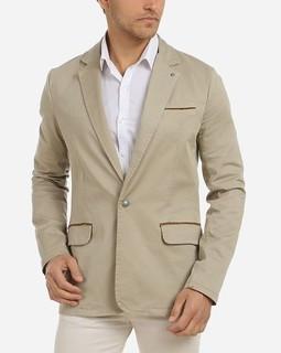Stress Solid Buttoned Blazer - Beige