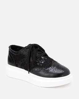 Spring Lace & Leather Sneakers - Black