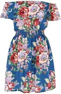 Gamiss Print Off Shoulder Women Dress - Lake Blue