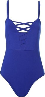 Fashion Hollow Out Lace-up Swimsuit - Blue