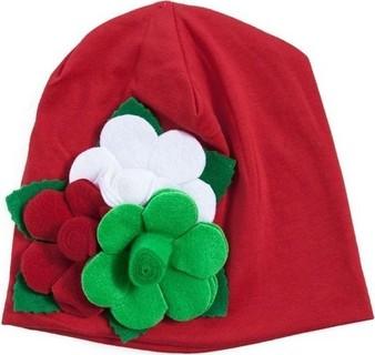 Fashion Babies Cotton Big Flower Decorated Beanie Hat - Red