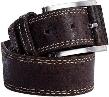 Rolf Boehmer Casual Textured & Stitched Belt - Faded Brown