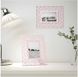 Metal Photo Frame, Powder Coated, Pink Color, 21x26cm