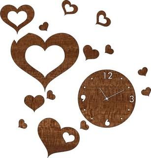 Meko Arts Wooden Hearts Clock