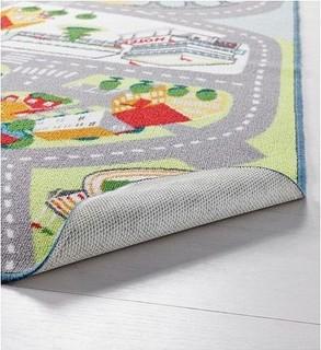 Lekplate Rug for Kids - Multi Color - Village Design - Low Pile