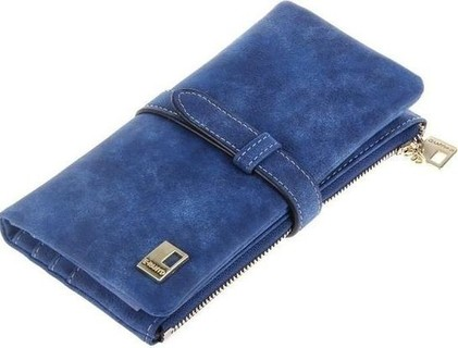 Fashion Dull Polish Hasp Long Wallet - Sapphire Blue