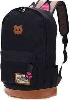 Fashion Girl's Patchwork Backpack With Print Pattern - Black