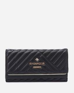 Shoe Room Stitched Leather Wallet - Black