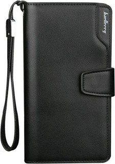 New Fashion Men Casual Long Design Leather Wallet - Black