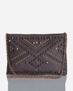 Ravin Studded Clutch - Grey