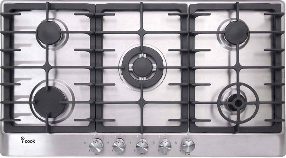 i-Cook Built-in i-Cook 5 Burners Gas Built-In Hob, Stainless Steel, 90 cm - BH5090S-8-IS