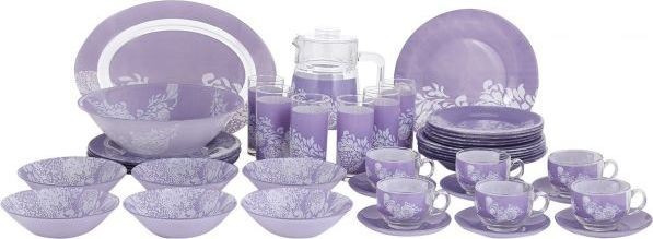 Luminarc Glass Piume Violet Dinner Set - 38 + 7 Pieces