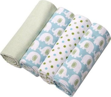 Fashion 4-Pack Cotton Flannel Receiving Blankets