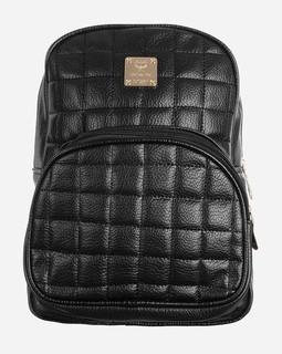 Variety Stitched Elegant Leather Backpack - Black
