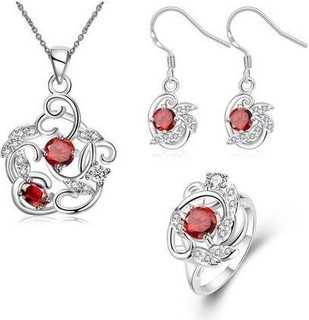 Fashion S107-B Trendy 925 Silver Plated Plant Earrings Ring Necklace Jewelry Sets