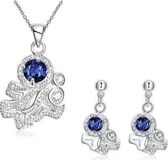 Fashion S134-A 925 Silver Plated Necklace Earrings - Blue