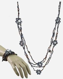 ZISKA Set Of Beaded Necklace & Bracelet - Grey