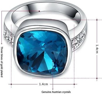 ROXI White Gold Plated Austrian Crystal Ring 8 USA Model 2010223480