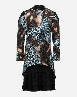 Dandasha Girls Animal Printed Dress - Black & Teal