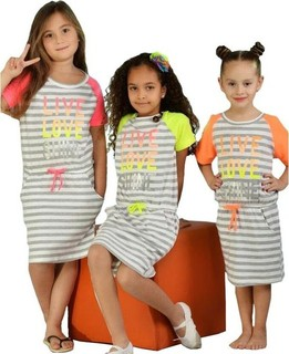 Pink Fly Set of Striped Cotton Night Wear - Multicolour