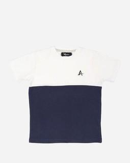Andora Bi-Tone T-shirt - Off White & Navy Blue
