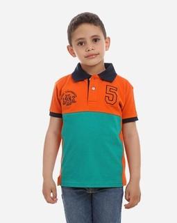 Andora Color Blocks Polo T-Shirt - Green & Orange
