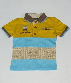 Andora Tri-Tone Polo shirt - Yellow, Blue Sky& Beige