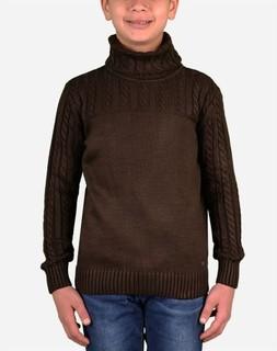 Town Team Boy High Neck Pullover - Dark Brown