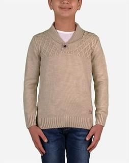 Town Team Boy Shawl Collar Pullover - Beige