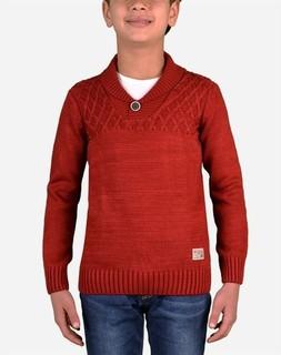 Town Team Boy Shawl Collar Pullover - Dark Red
