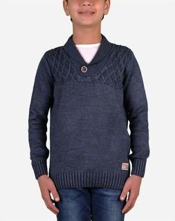 Town Team Boy Shawl Collar Pullover - Indigo