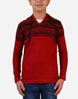 Town Team Boys Patterned Hooded Pullover - Red