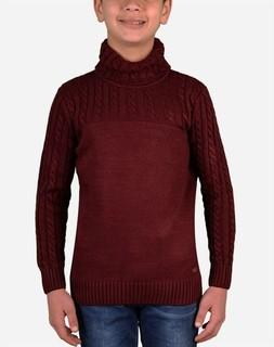 Town Team High Neck Pullover - Dark Red