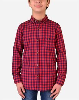 Town Team Boys Plaids Long Sleeves Shirt - Red
