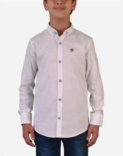 Town Team Chest Logo Long Sleeves Shirt - White
