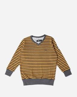 Andora Boys Striped Sweatshirt - Camel