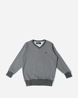 Andora Boys V-Neck Striped Sweatshirt - Grey