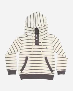 Andora Striped Sweatshirt Hooded Neck - Beige