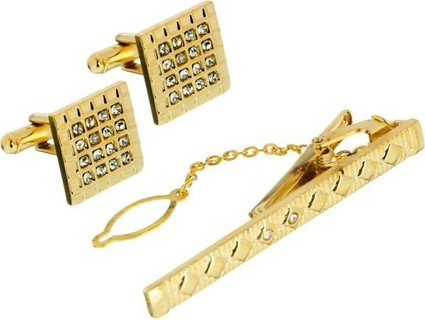 Gold Star 83044 Cufflinks And Tie Bar For Men - Gold